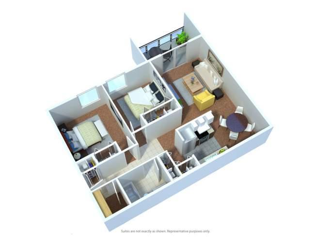 Hillview Estates Apartments D floor plan
